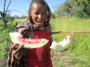 Gwagi enjoying some watermelon